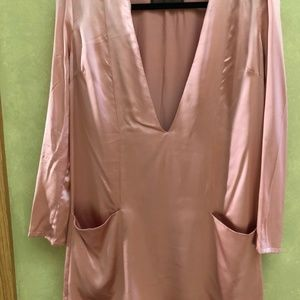 Reformation Pink Silk Long Sleeve V Neck Dress